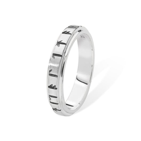 Orkney Raised Narrow Band Viking Runic Ring in Silver