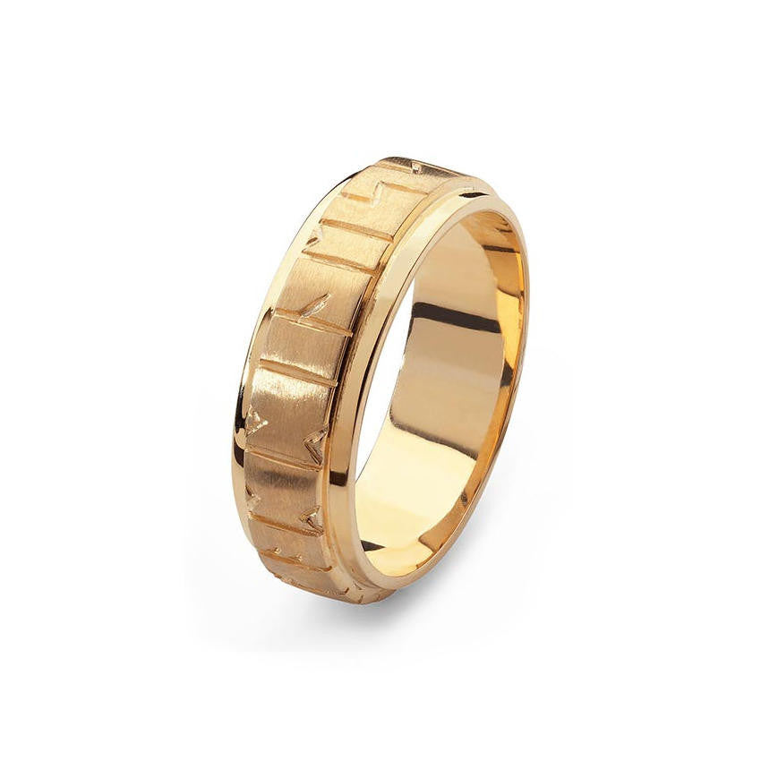 Orkney Raised Wide Band Viking Runic Ring Tappit Hen