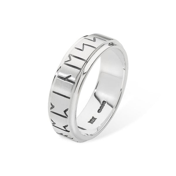 Orkney Raised Wide Band Viking Runic Ring in Silver