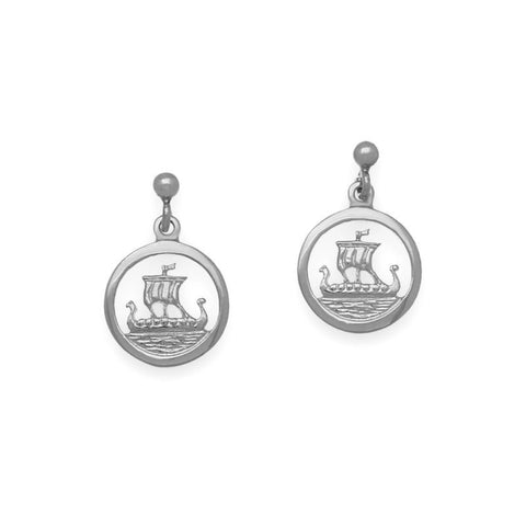 Orkney Viking Longship Round Earrings in Silver
