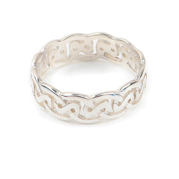 Celtic Loop Wave Knot work Ring in Sterling Silver
