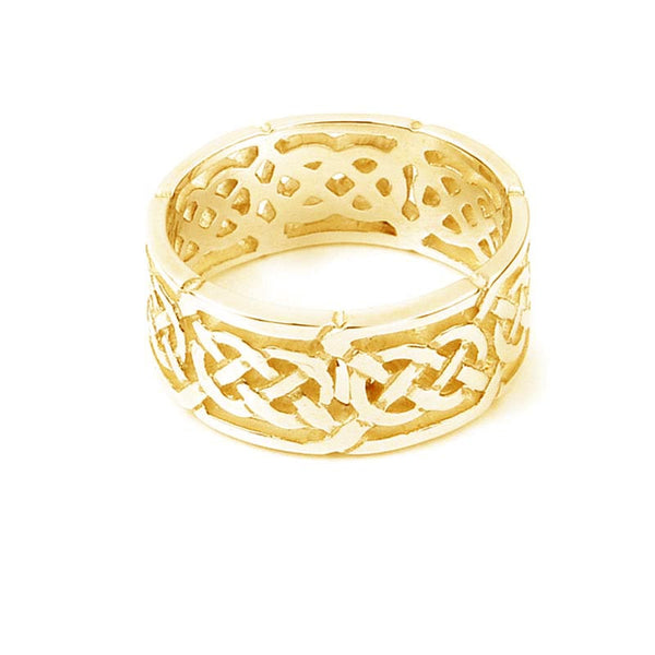 Celtic Eternal Knot work Loop Ring in Yellow Gold