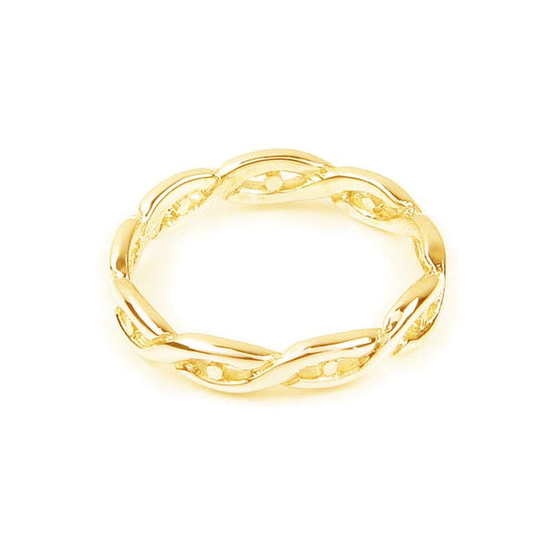 Celtic Eternal Knot work Twist Ring in Gold