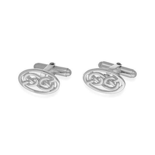 Oval Celtic Knotwork Cufflinks In Silver