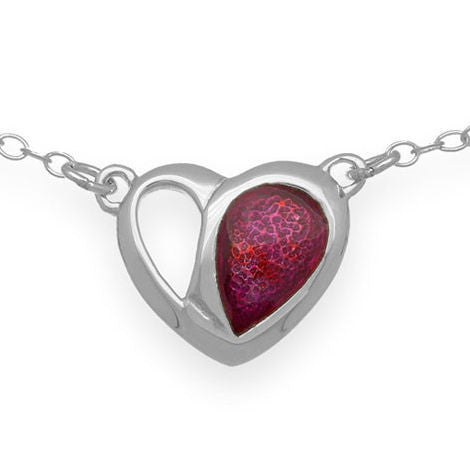 Passion Pink Enamelled Heart Chain Link Necklace In Silver