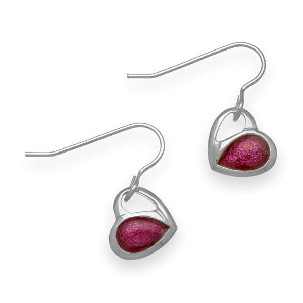 Passion Pink Enamelled Heart Drop Earrings In Silver