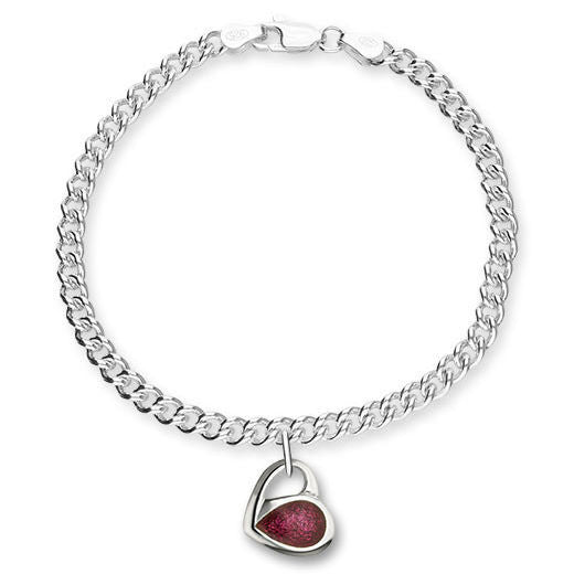 Passion Pink Enamelled Heart Charm Bracelet In Silver