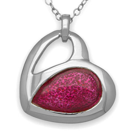 Passion Pink Enamelled Heart Pendant Necklace In Silver