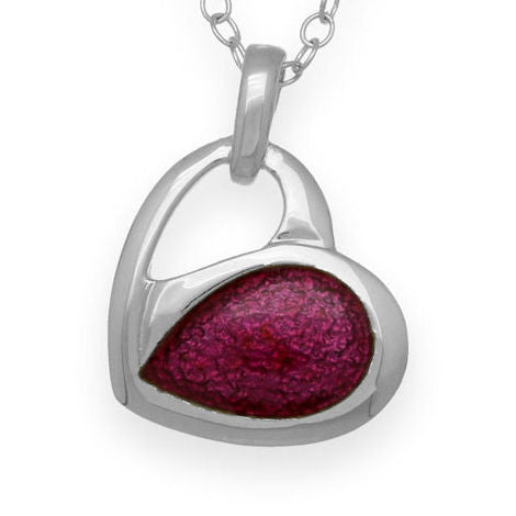 Passion Pink Enamelled Heart Pendant Necklace In Silver Small