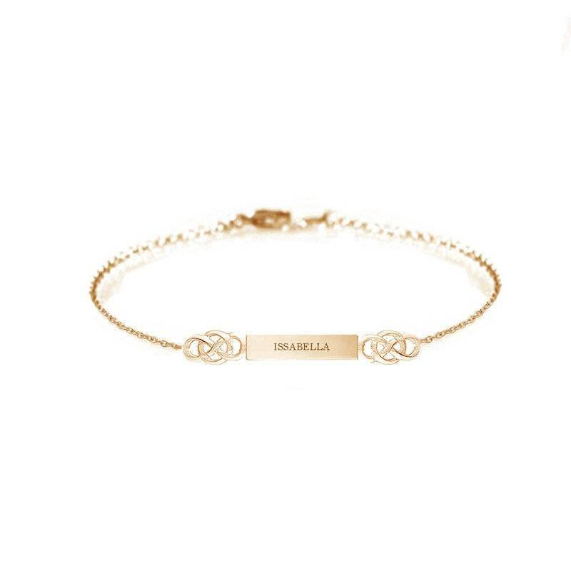 Personalised Name Bar Celtic Layered Bracelet In Gold Vermeil