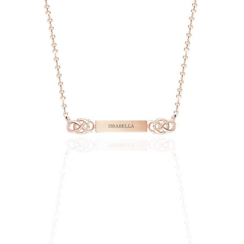 Personalised Name Bar Celtic Layered Necklace in Gold Vermeil