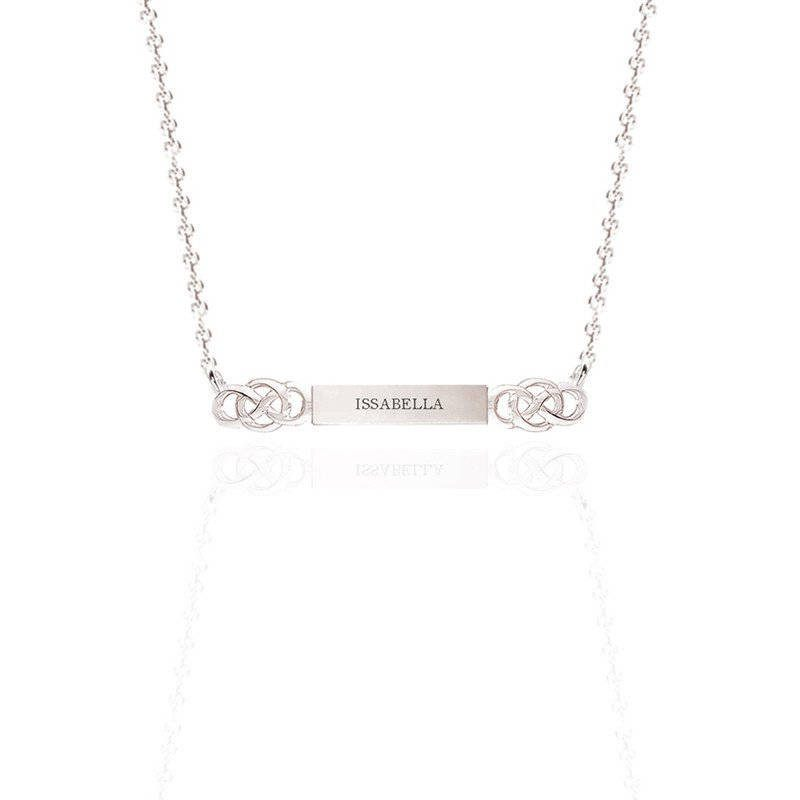 Personalised Name Bar Celtic Layered Necklace In Silver
