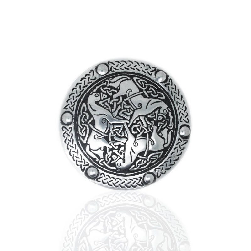 Pictish Horse Belt Buckle In Pewter
