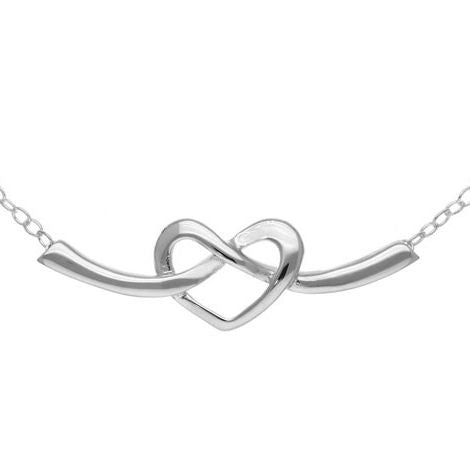 Piped Loop Heart Necklace In Silver
