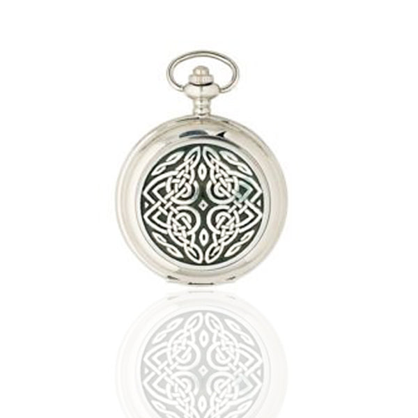 Celtic Eternal Knot Mechanical Pocket Watch in Pewter