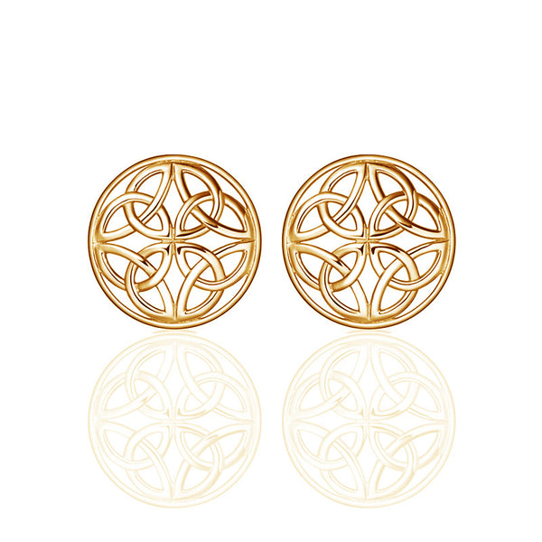 Four Trinity Celtic Knot Eternal Round Stud Earrings in 9 ct yellow gold-jn77-g