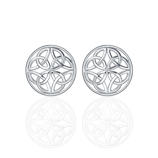 Four Trinity Celtic Knot Eternal Round Stud Earrings in silver-jn77-s