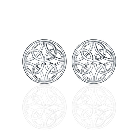 Four Trinity Celtic Knot Eternal Round Stud Earrings