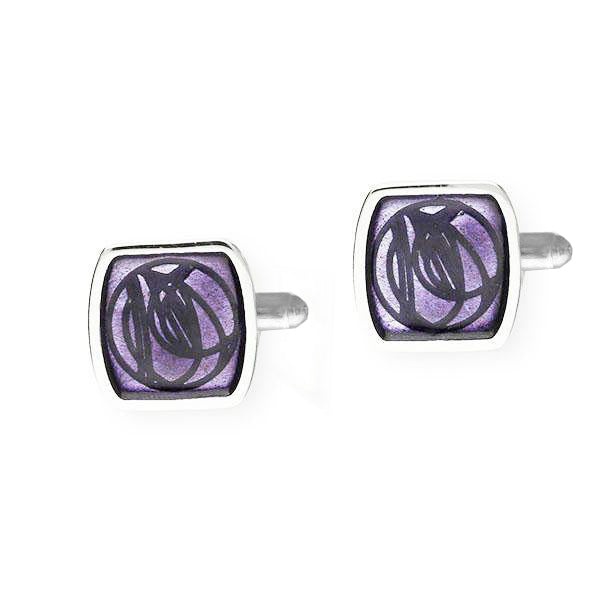 Rennie Mackintosh Enamelled Square Rose Stud Cufflinks in Silver