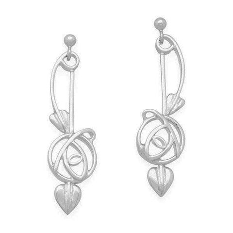 Rennie Mackintosh Classic Rose Leaf Drop Earrings in Silver