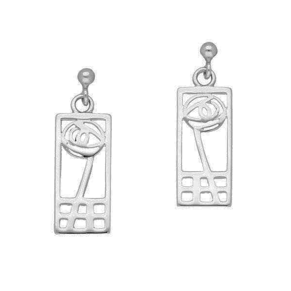 Rennie Mackintosh Classic Rose Rectangular Drop Earrings