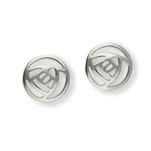 Rennie Mackintosh Classic Round Rose Stud Earrings in Silver