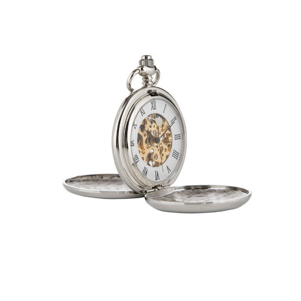Rennie Mackintosh Eleven Flower Bud Mechanical Pocket Watch In Pewter Open