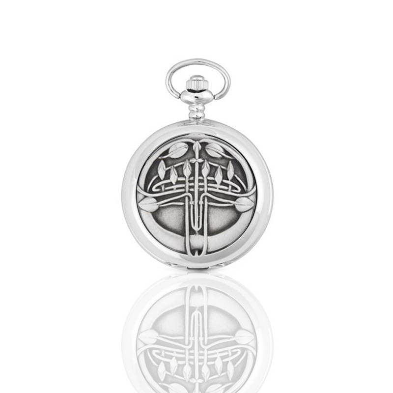 Rennie Mackintosh Eleven Flower Bud Mechanical Pocket Watch In Pewter
