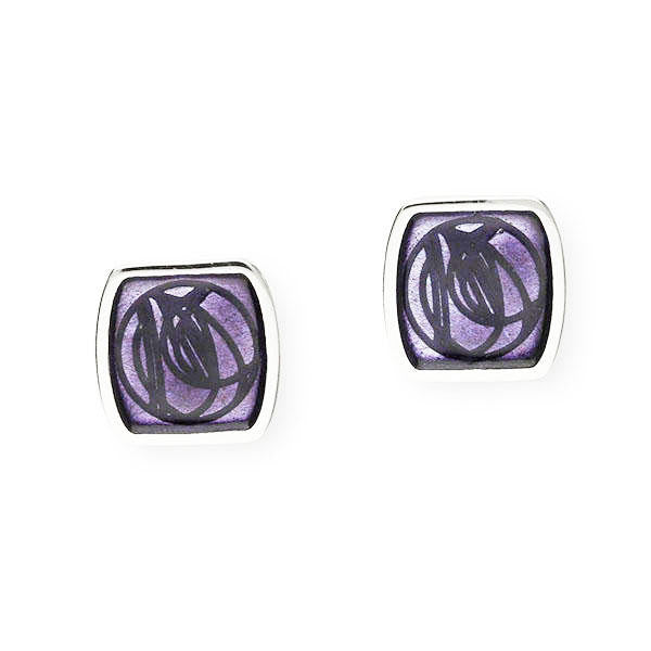Rennie Mackintosh Enamelled Square Rose Stud Earrings in Silver