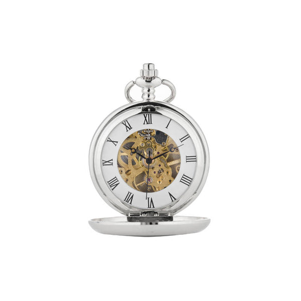 Rennie Mackintosh Five Flower Bud Mechanical Pocket Watch In Pewter Front Face