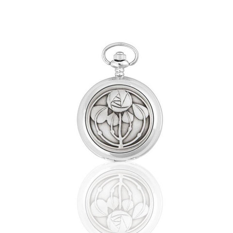 Rennie Mackintosh Five Flower Bud Mechanical Pocket Watch In Pewter