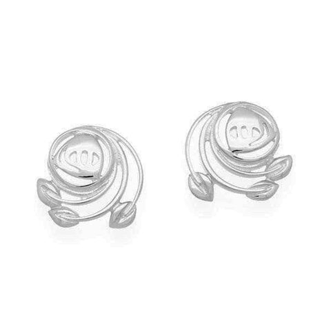 Rennie Mackintosh Leaf Spiral Stud Earrings in Silver