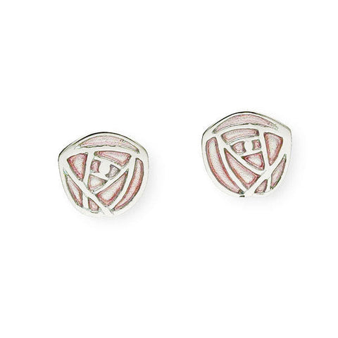 Rennie Mackintosh Pink Rose Stud Earrings in Silver