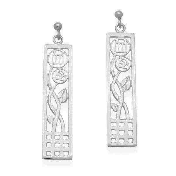 Rennie Mackintosh Rectangular Rose Spiral Drop Earrings in Silver