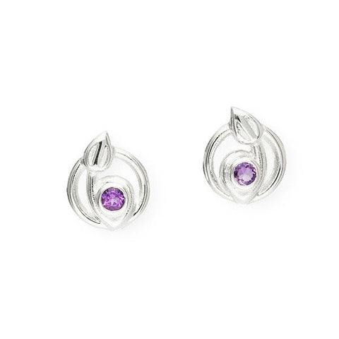 Rennie Mackintosh Round Amethyst Leaf Earrings in Silver