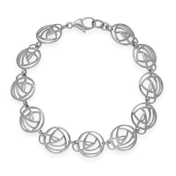 Rennie Mackintosh Round Link Rose Bracelet in Silver