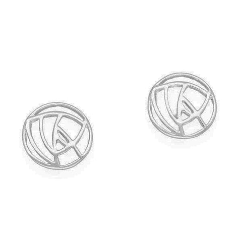 Rennie Mackintosh Small Round Rose Stud Earrings in Silver