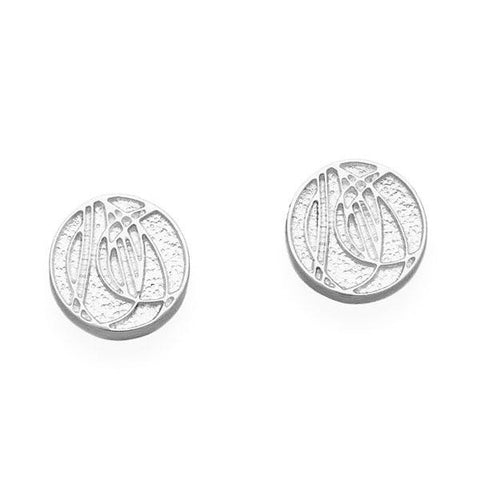 Rennie Mackintosh Solid Rose Round Studs in Silver