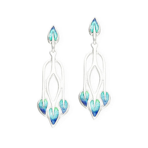 Rennie Mackintosh Turquoise Leaf Drop Earrings in Silver