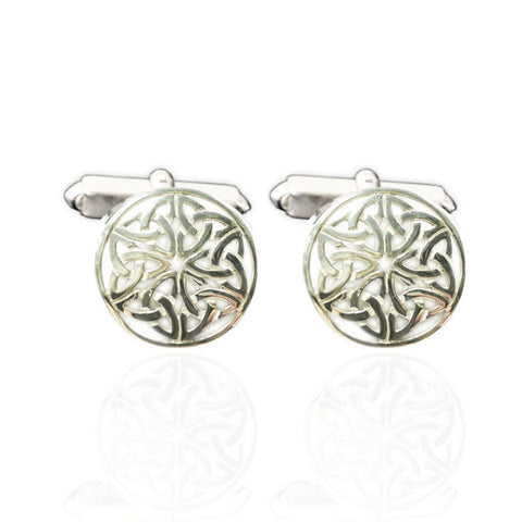 Round Celtic Knotwork Flower Cufflinks