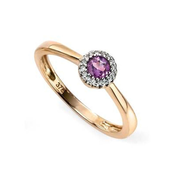 Round Stoneset Ring with Pave Detail in Yellow Gold - Tappit Hen Gallery - 1