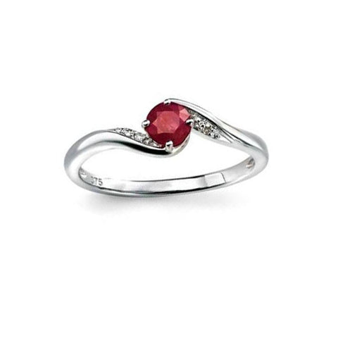 Pave Diamond & Ruby Swirl Engagement Ring in White Gold