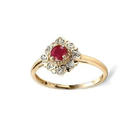 Ruby & Diamond Engagement Ring in Yellow Gold