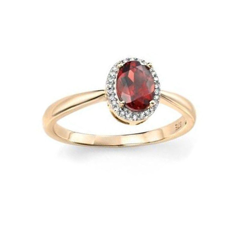 Oval Garnet Diamond Engagement Ring in Yellow Gold