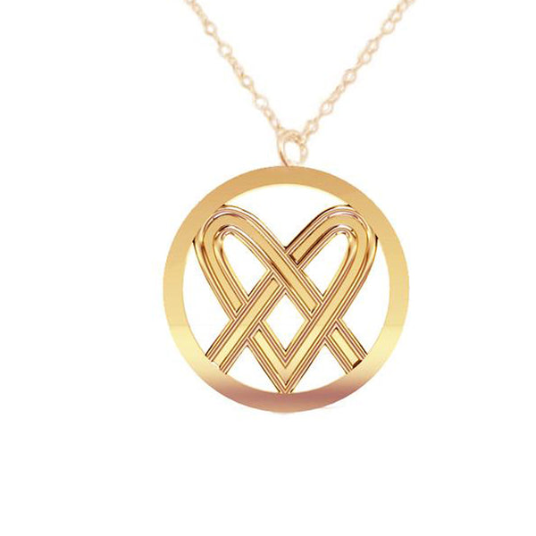 Large Celtic Saltire Heart Pendant in gold