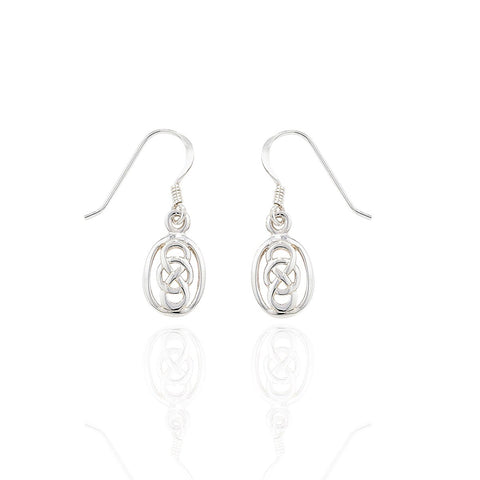 Sterling Silver Celtic Loop Over Drop Earrings