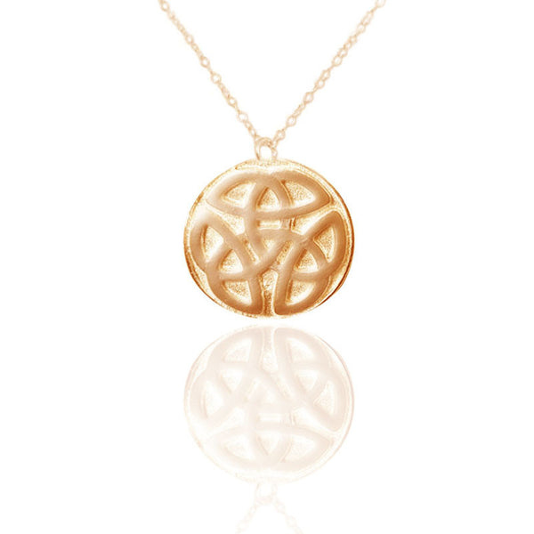 Celtic Knot work Solid Round Necklace in Gold