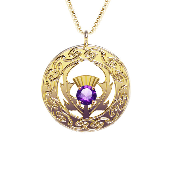 Scottish Thistle Celtic Flow Amethyst Pendant in gold