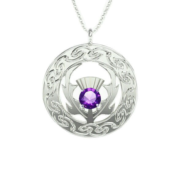 Scottish Thistle Celtic Flow Amethyst Pendant in silver