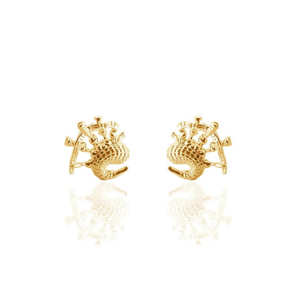 Scottish Bagpipes Stud Earrings in Gold Vermeil